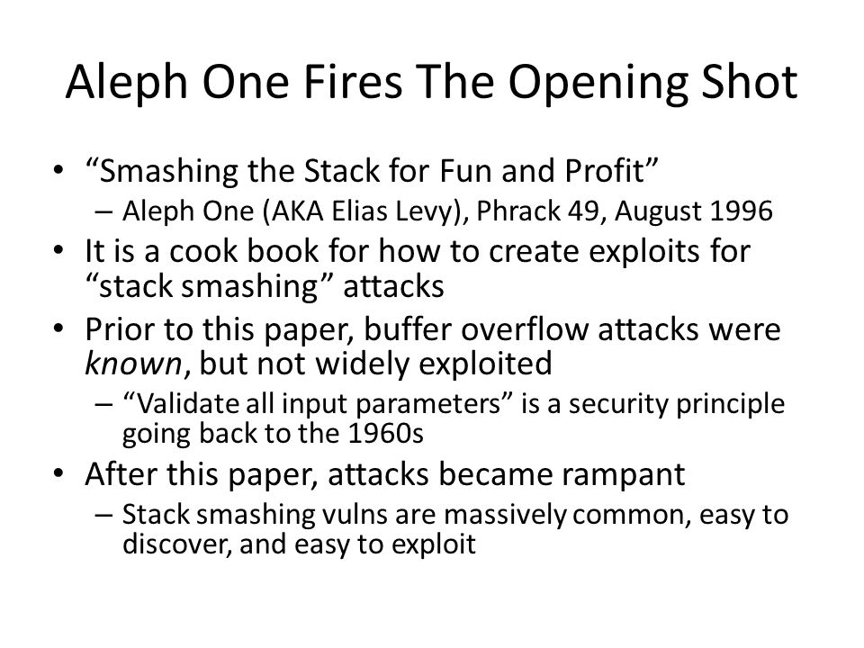 Aleph One Fires The Opening Shot