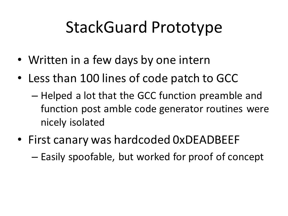 StackGuard Prototype Written in a few days by one intern