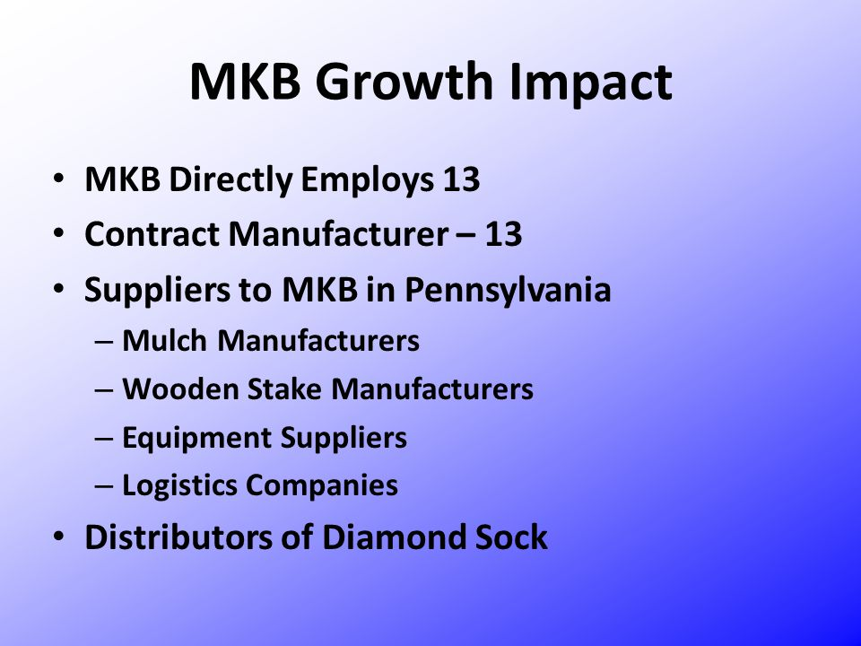 MKB Growth Impact MKB Directly Employs 13 Contract Manufacturer – 13