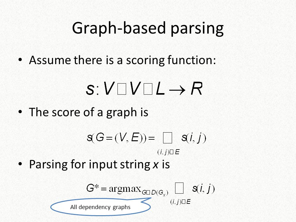 Graph-based parsing Assume there is a scoring function:
