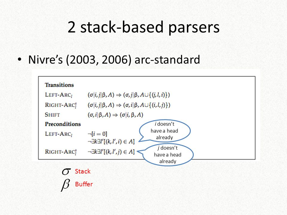 2 stack-based parsers Nivre's (2003, 2006) arc-standard Stack Buffer
