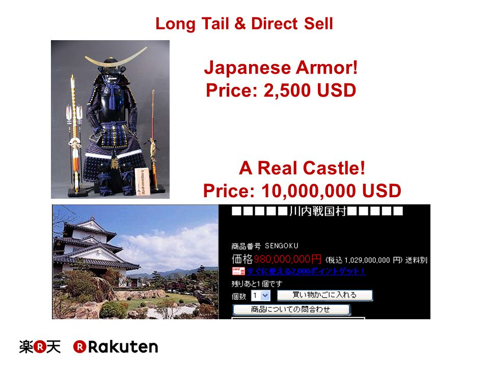 Japanese Armor! Price: 2,500 USD A Real Castle! Price: 10,000,000 USD