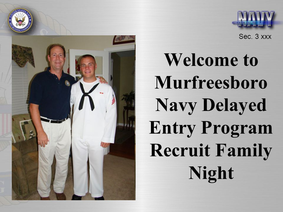 Welcome to Murfreesboro Navy Delayed Entry Program Recruit Family Night