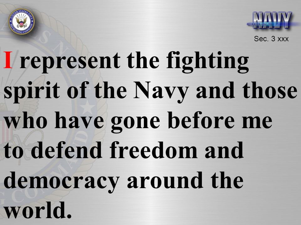 I represent the fighting spirit of the Navy and those who have gone before me to defend freedom and democracy around the world.
