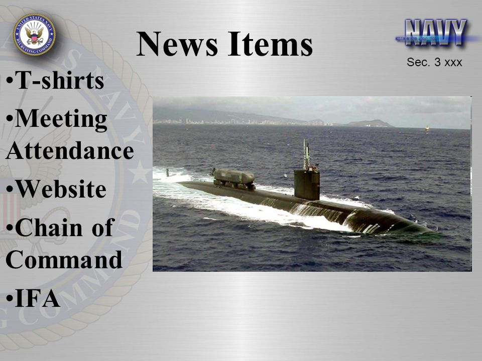 News Items T-shirts Meeting Attendance Website Chain of Command IFA