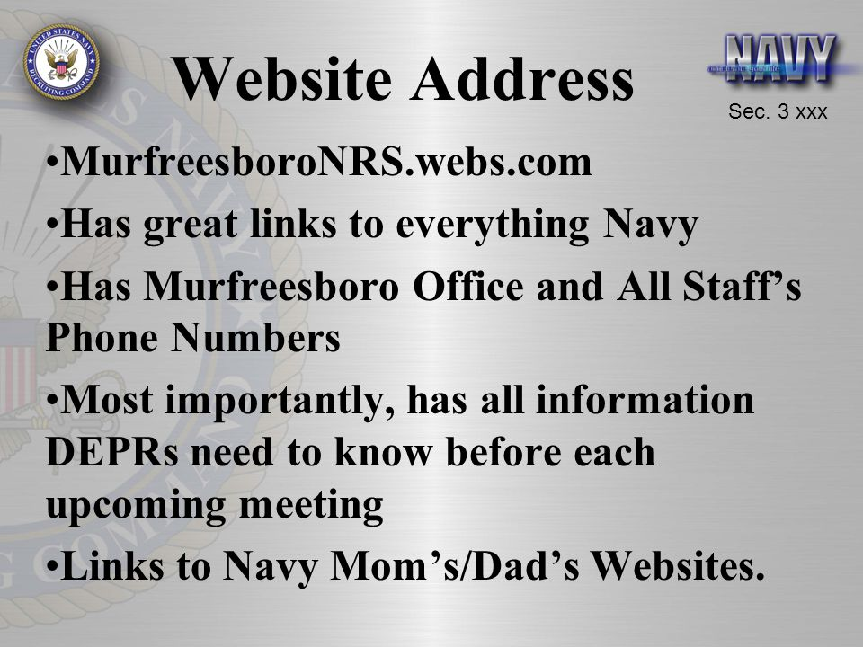 Website Address MurfreesboroNRS.webs.com