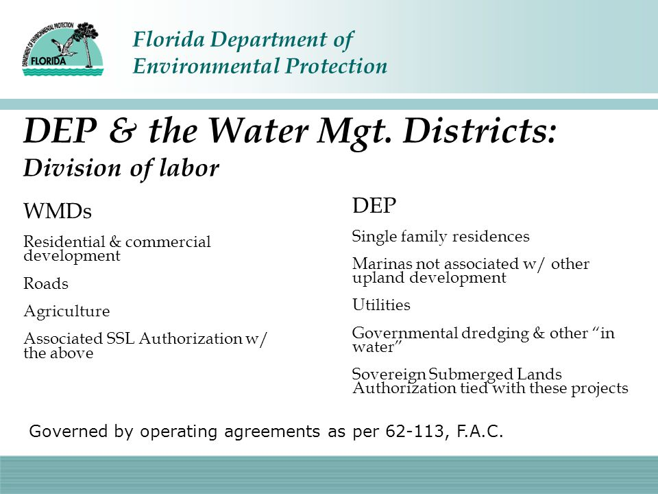 DEP & the Water Mgt. Districts: Division of labor
