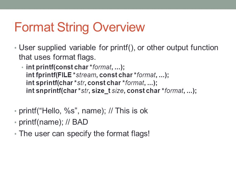 Format String Overview