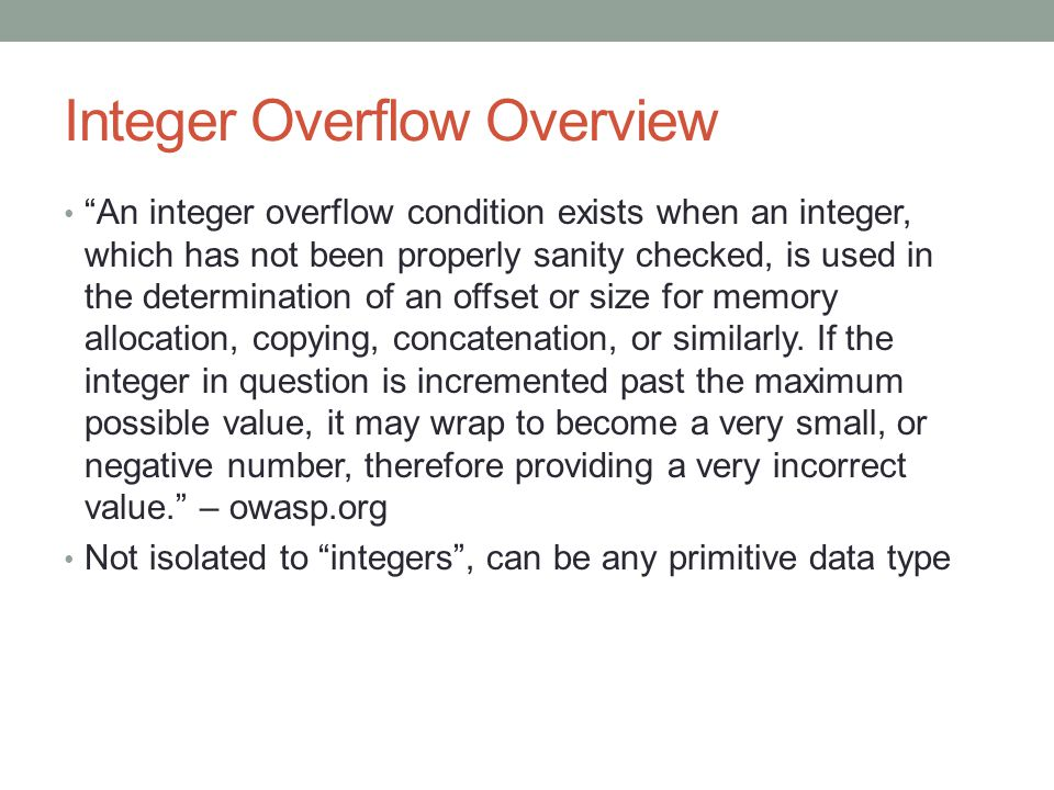 Integer Overflow Overview