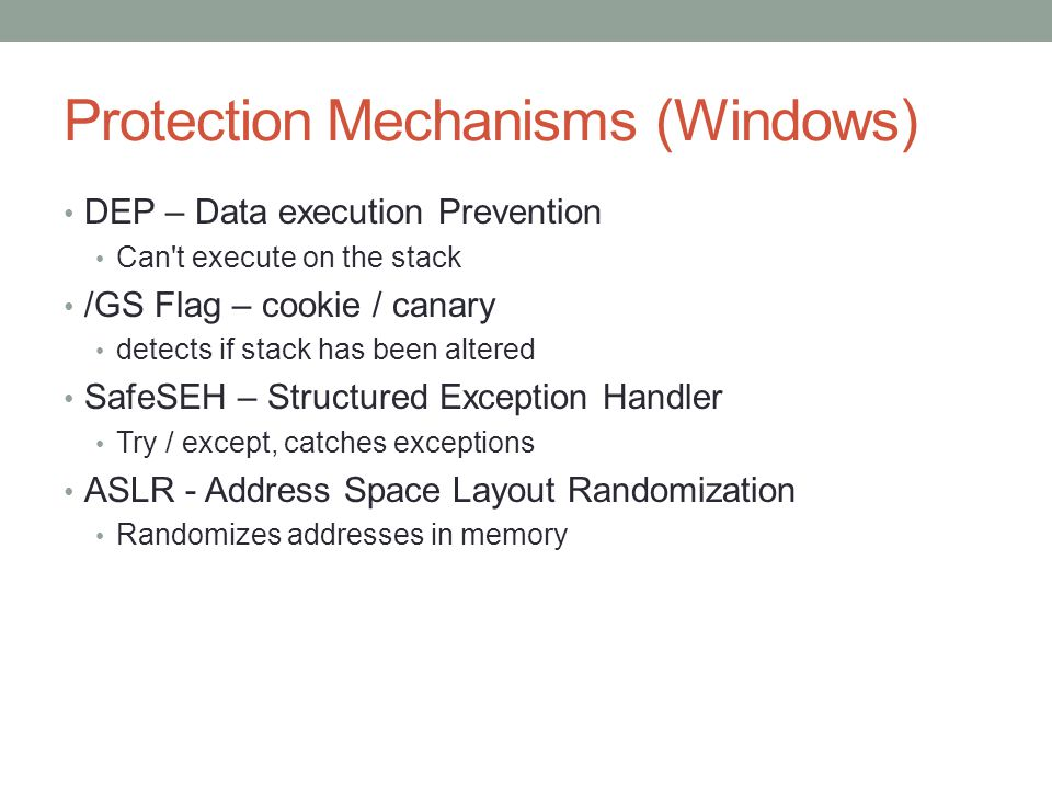 Protection Mechanisms (Windows)