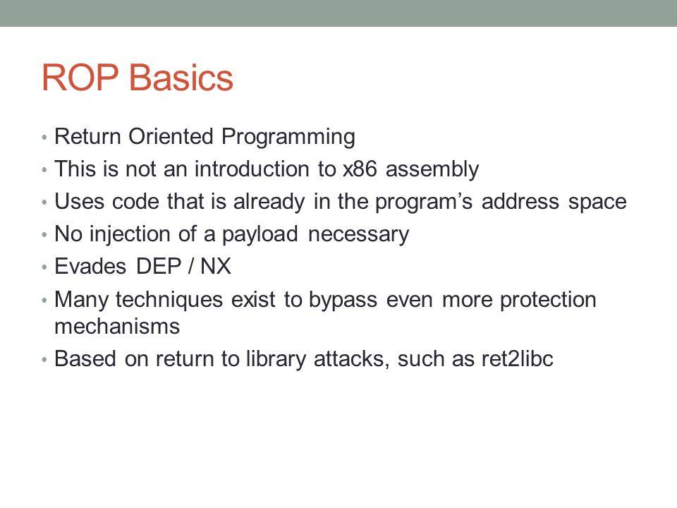 ROP Basics Return Oriented Programming