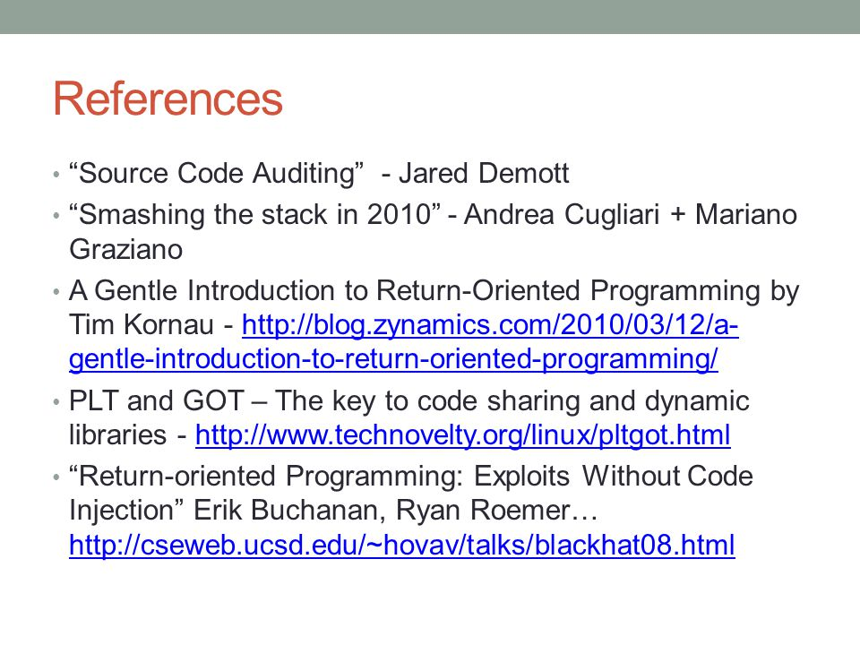 References Source Code Auditing - Jared Demott