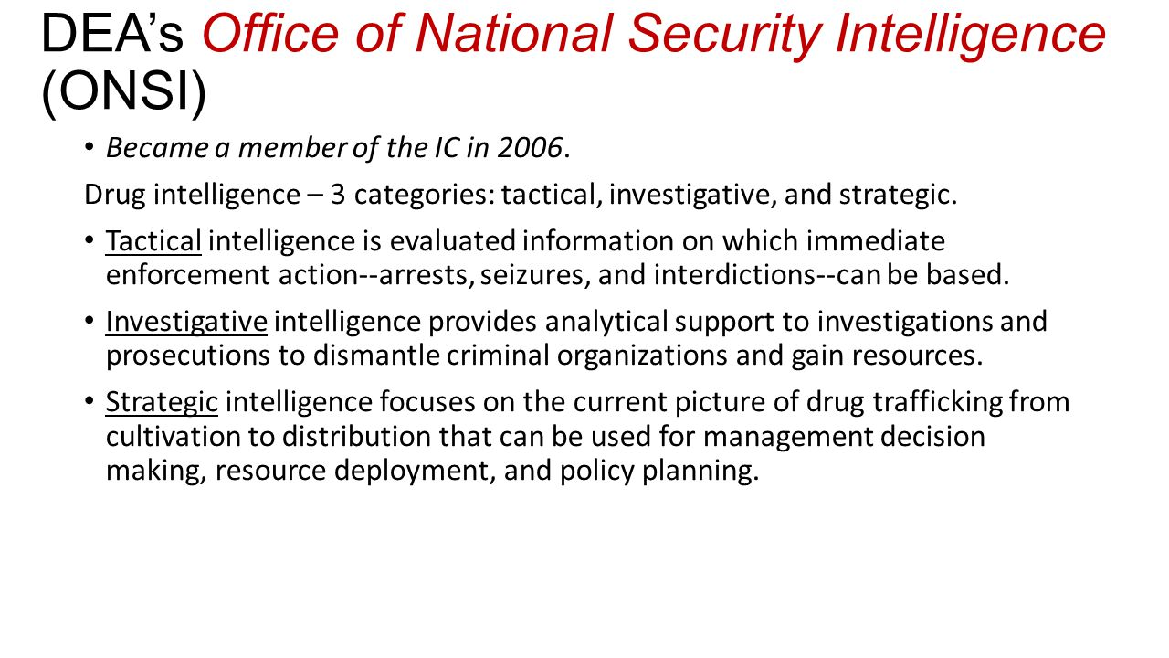 DEA's Office of National Security Intelligence (ONSI)