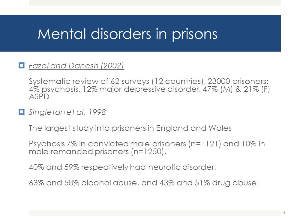 Mental disorders in prisons