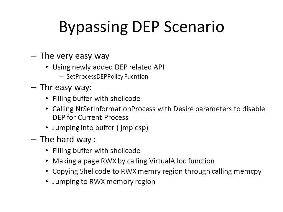 Bypassing DEP Scenario