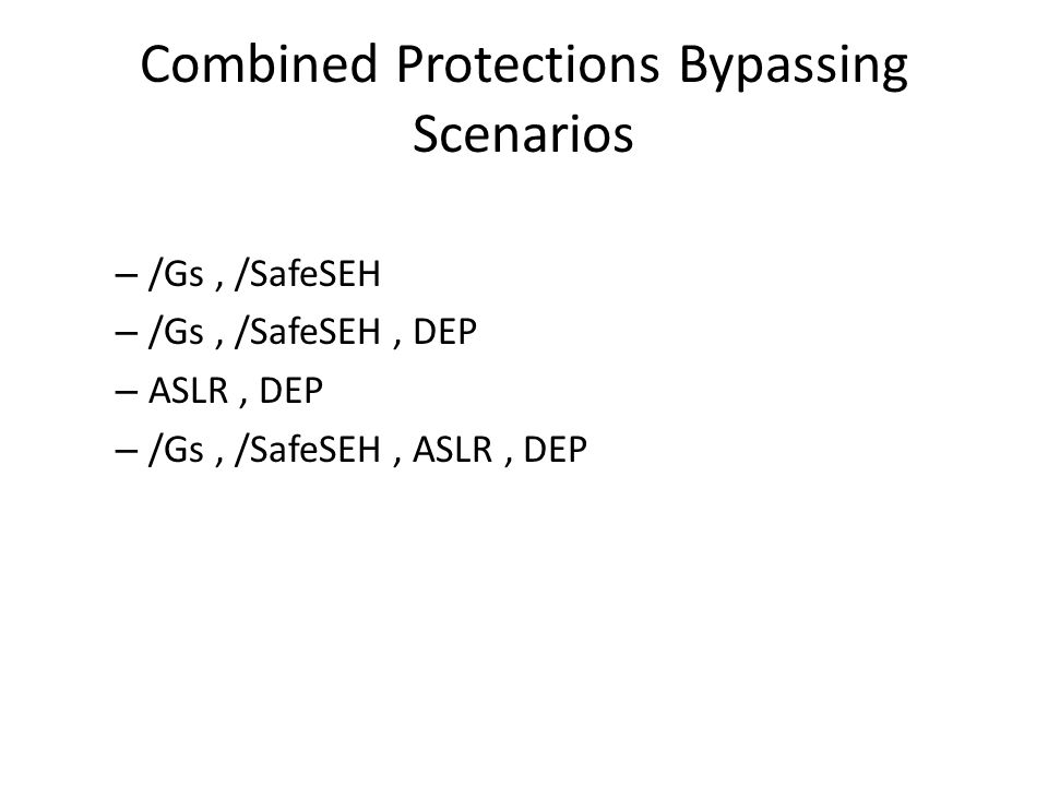 Combined Protections Bypassing Scenarios