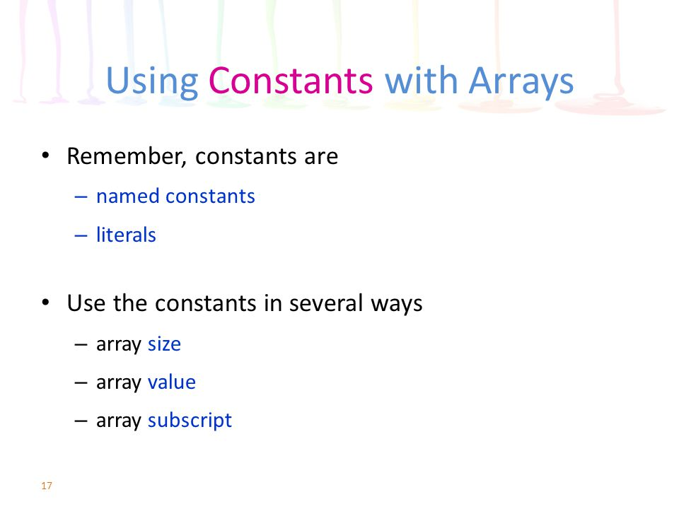 Using Constants with Arrays