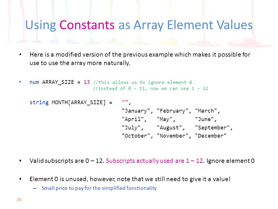 Using Constants as Array Element Values