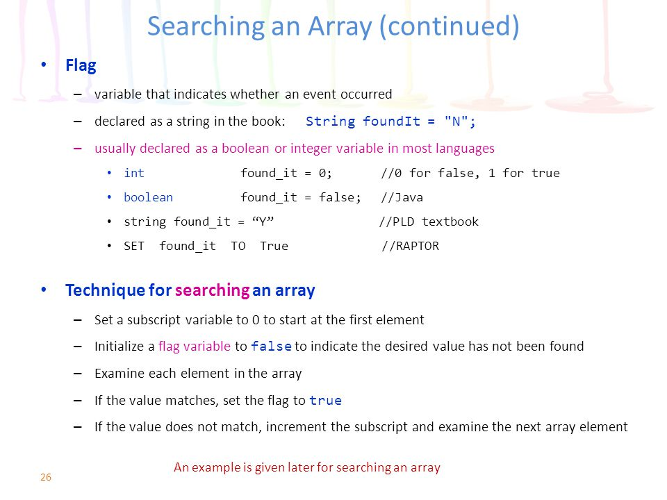 Searching an Array (continued)