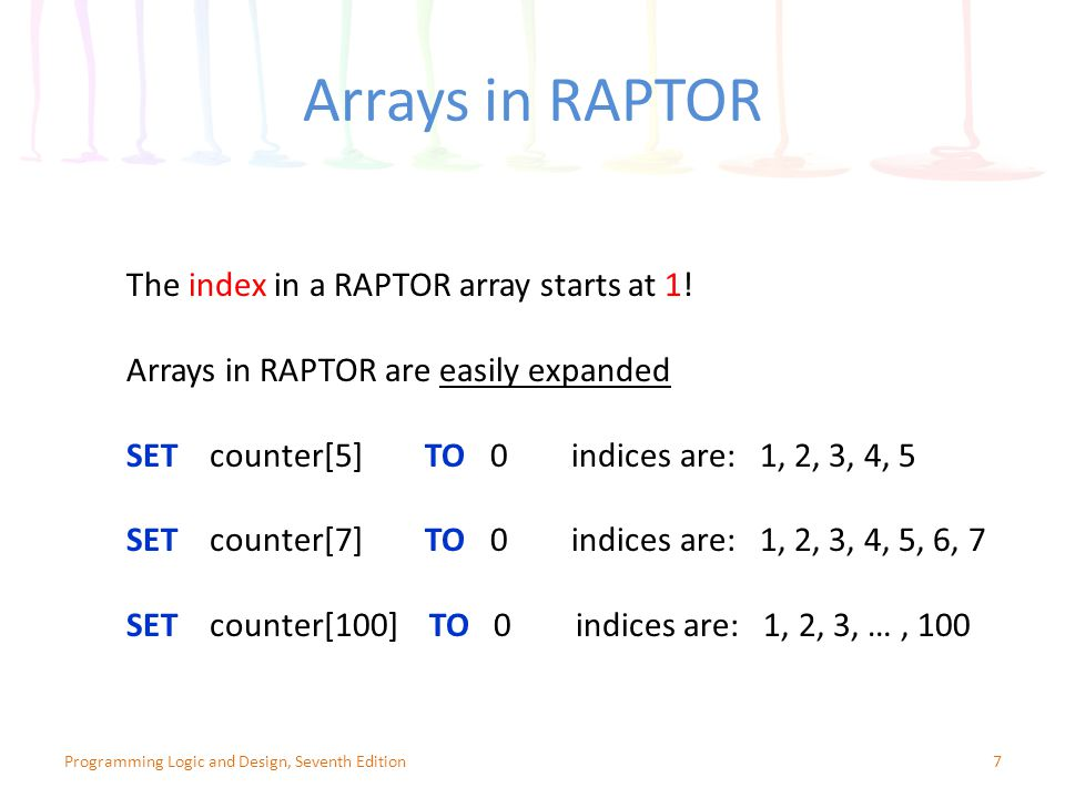 Arrays in RAPTOR The index in a RAPTOR array starts at 1!