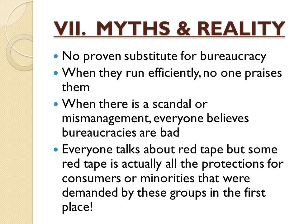 VII. MYTHS & REALITY No proven substitute for bureaucracy