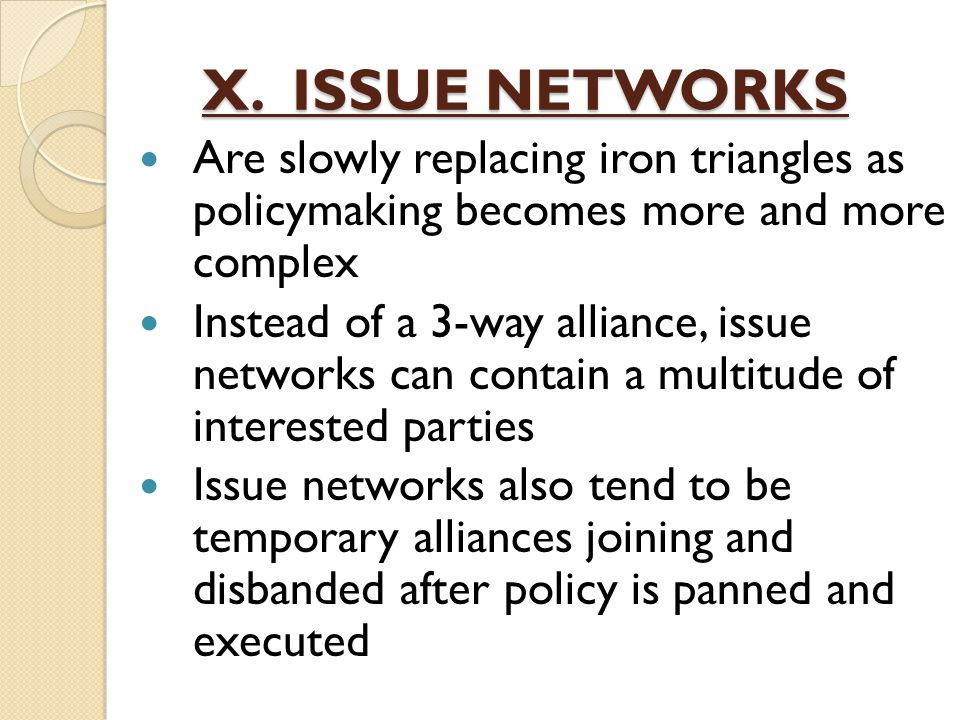 X. ISSUE NETWORKS Are slowly replacing iron triangles as policymaking becomes more and more complex.