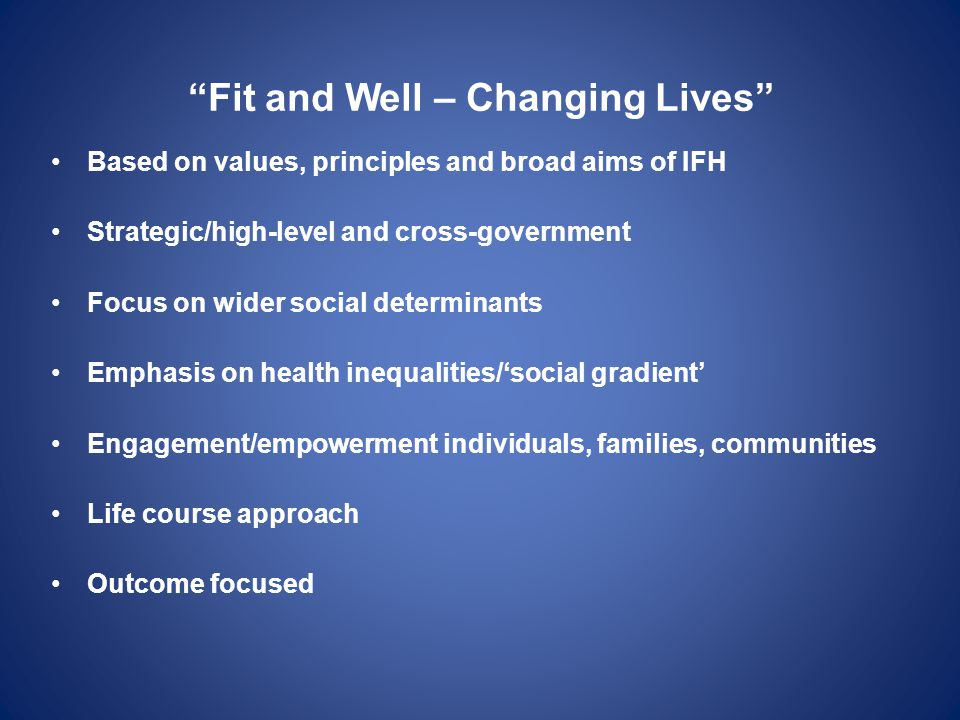 Fit and Well – Changing Lives