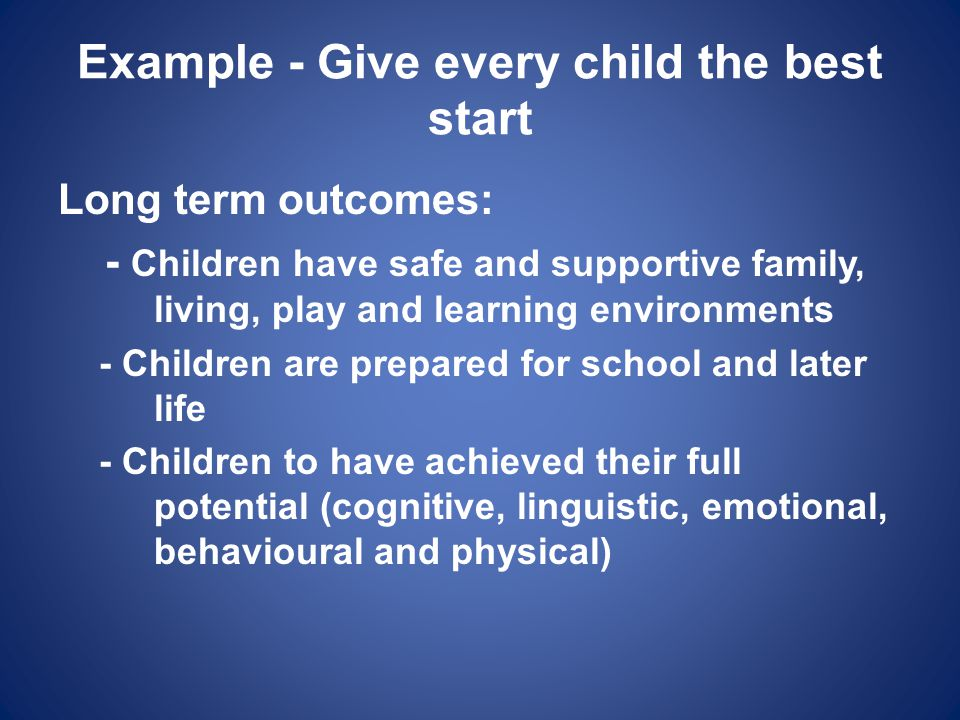 Example - Give every child the best start