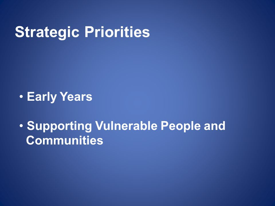Strategic Priorities Early Years Supporting Vulnerable People and
