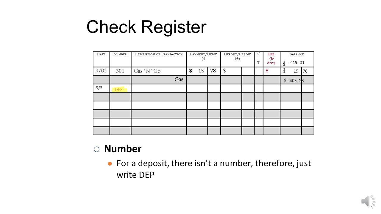 Check Register 419 01. 15. 78. $ 403 23.