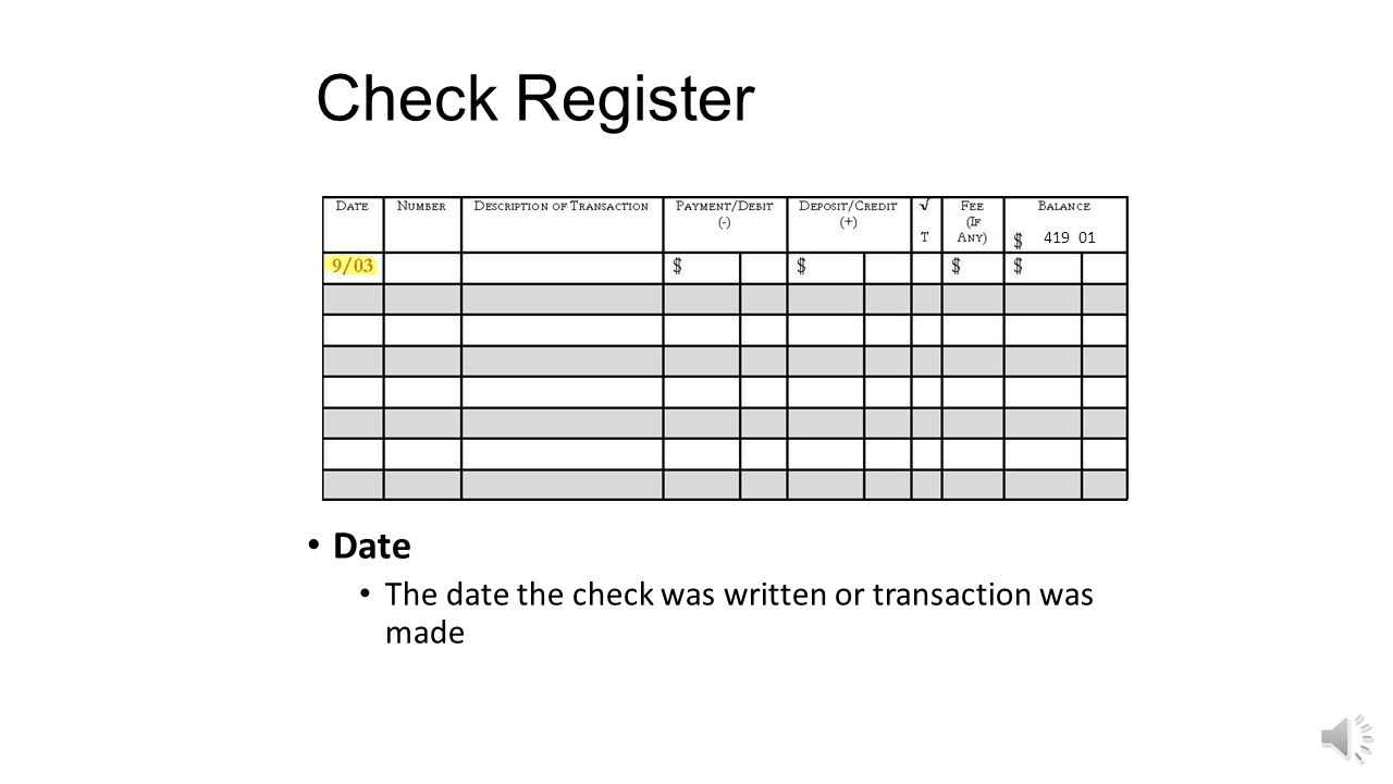Check Register 419 01 Date The date the check was written or transaction was made