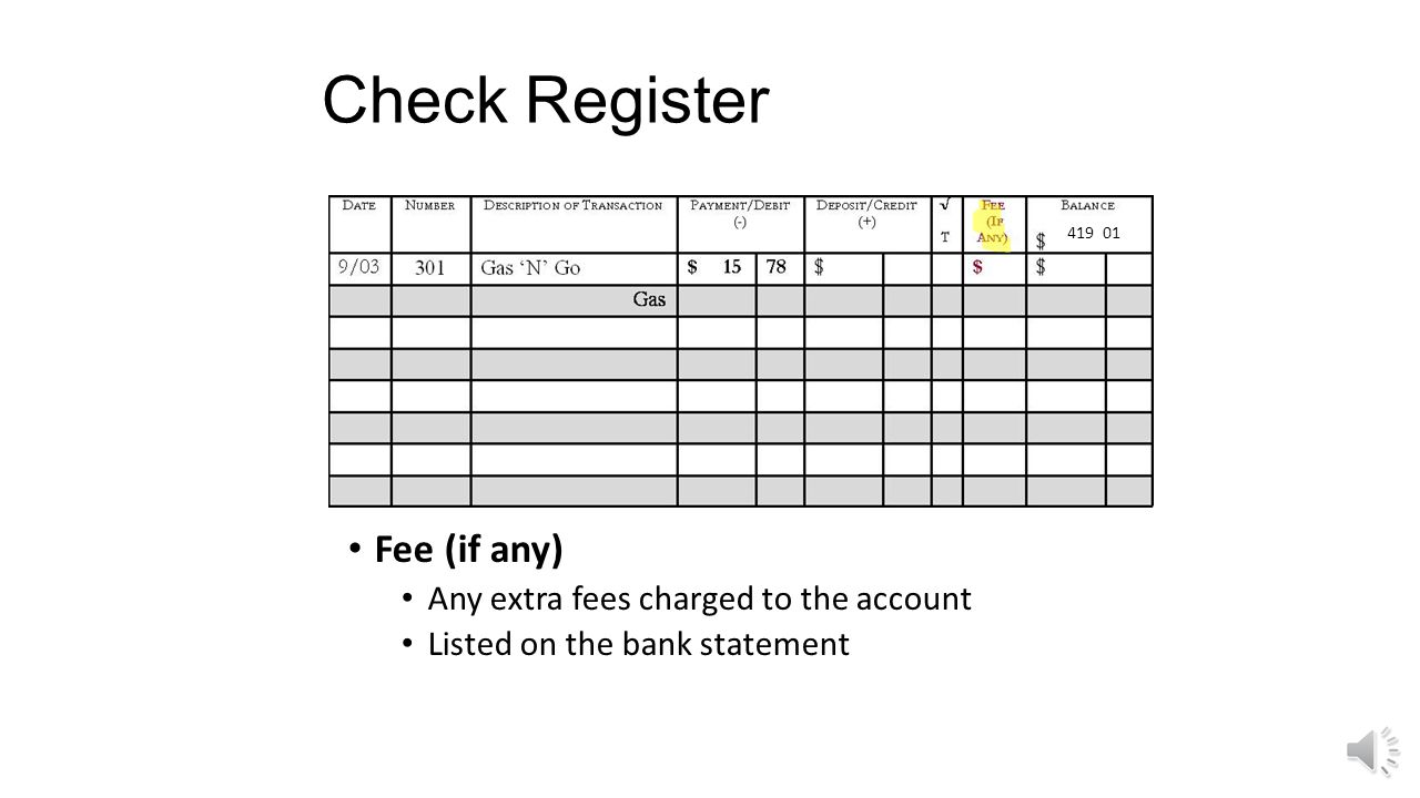Check Register Fee (if any) Any extra fees charged to the account