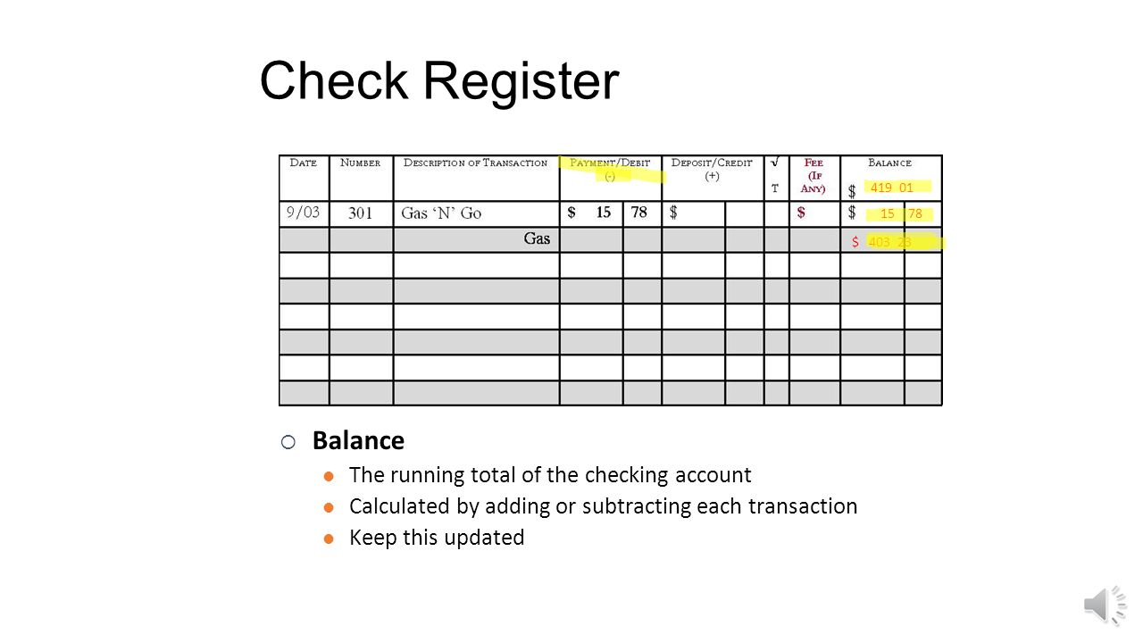 Check Register Balance The running total of the checking account