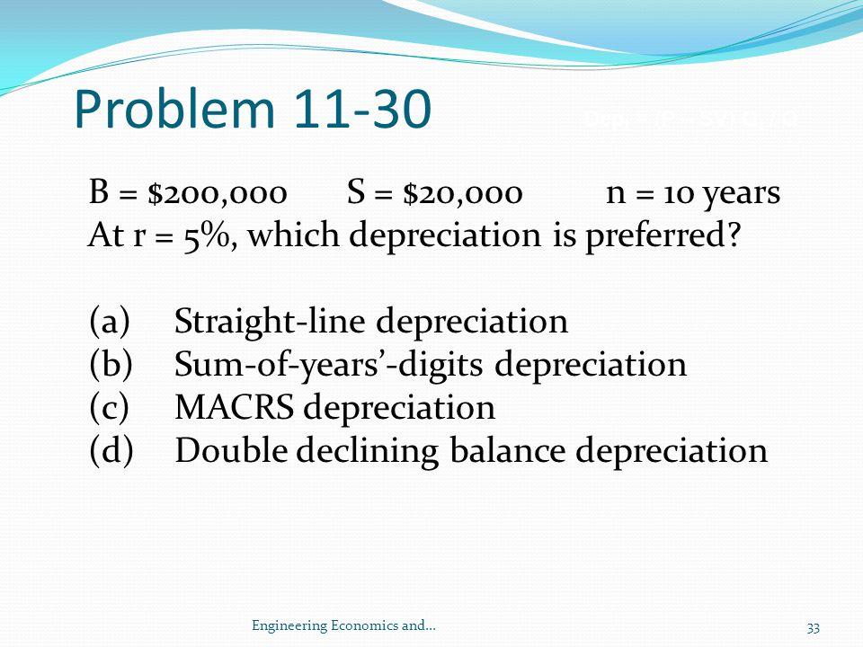 Problem 11-30 Dept = (P – SV) Qt / Q.