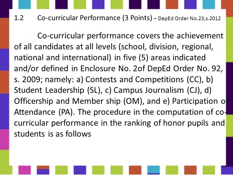 1. 2 Co-curricular Performance (3 Points) – DepEd Order No. 23,s