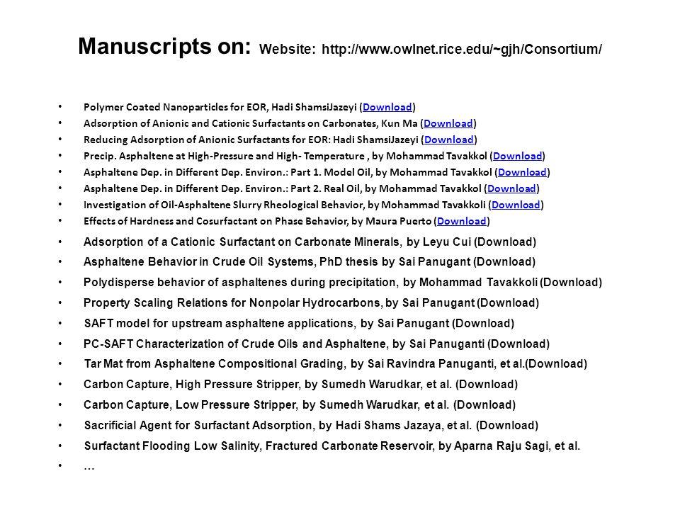 Manuscripts on: Website: http://www.owlnet.rice.edu/~gjh/Consortium/
