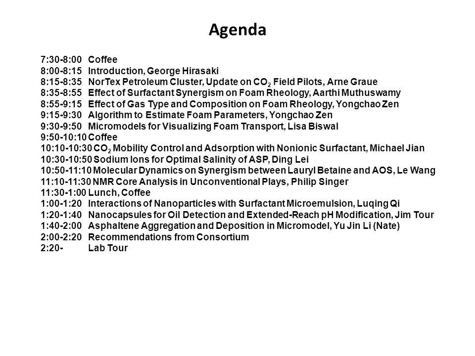 Agenda 7:30-8:00 Coffee 8:00-8:15 Introduction, George Hirasaki