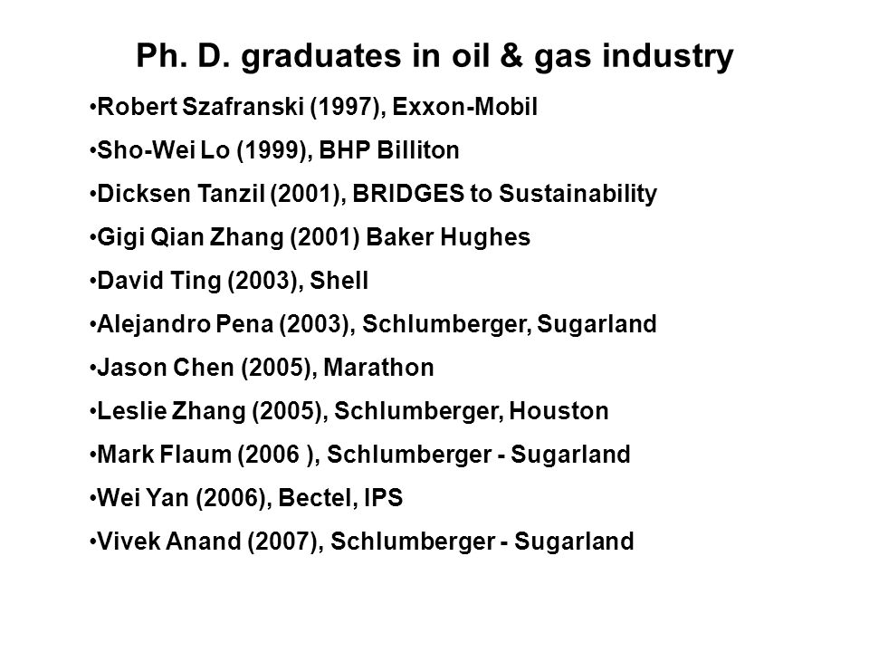 Ph. D. graduates in oil & gas industry