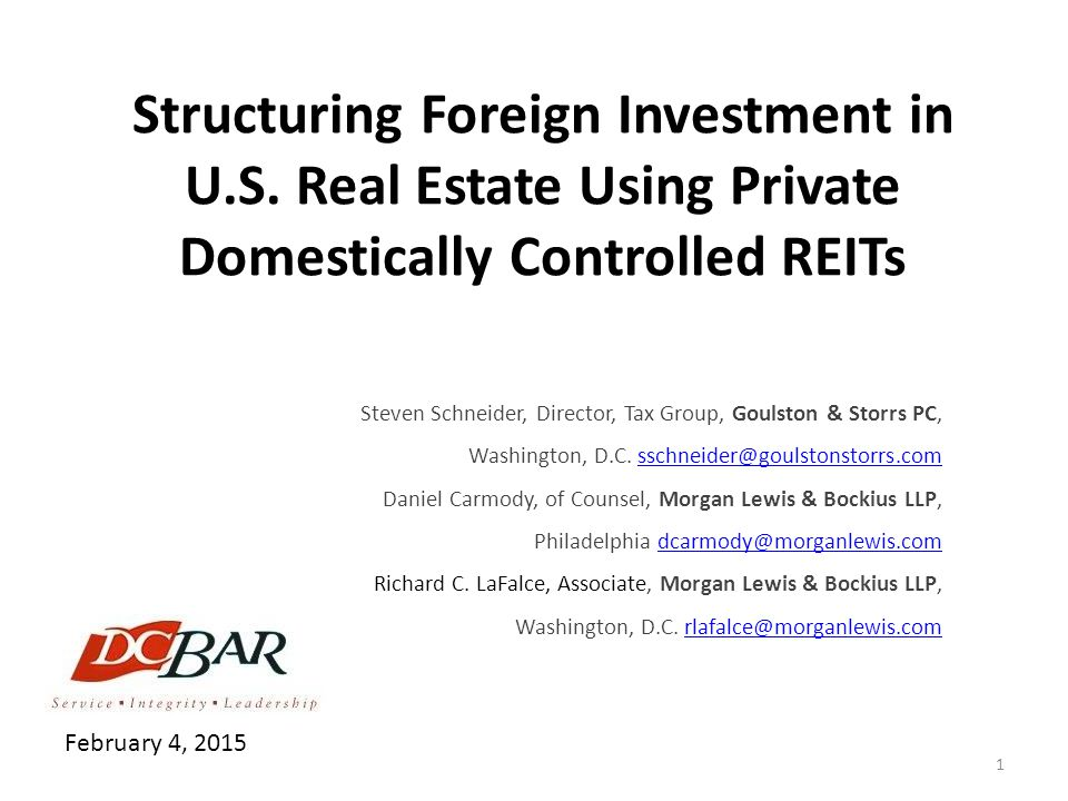 Structuring Foreign Investment in U. S