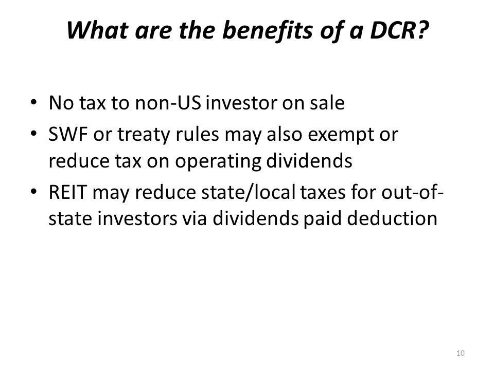 What are the benefits of a DCR