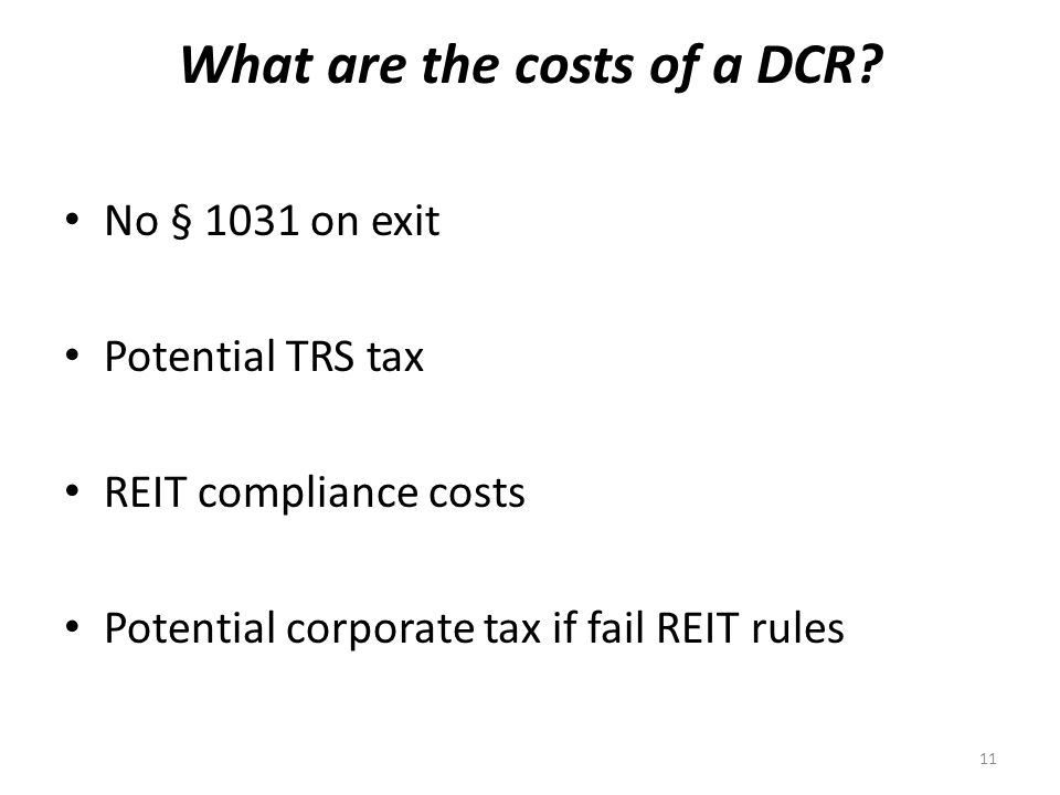 What are the costs of a DCR