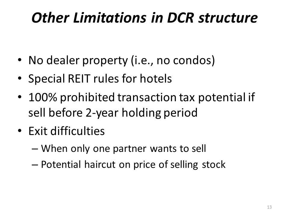 Other Limitations in DCR structure