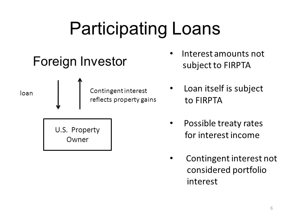 Participating Loans Foreign Investor Interest amounts not