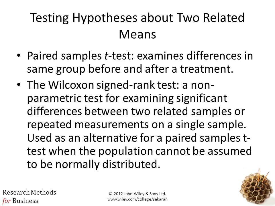 Testing Hypotheses about Two Related Means