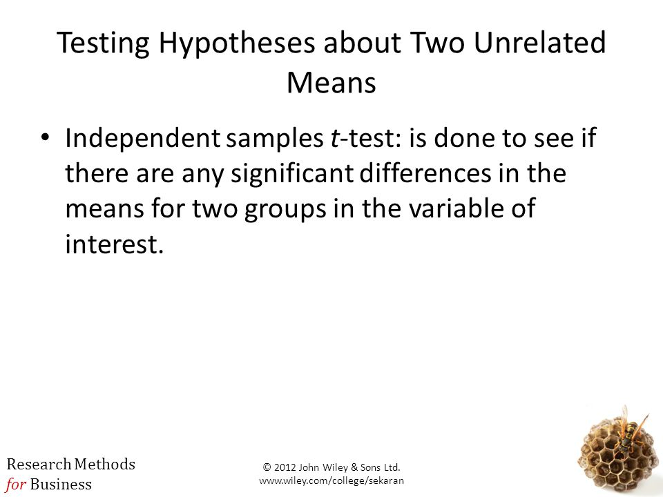 Testing Hypotheses about Two Unrelated Means