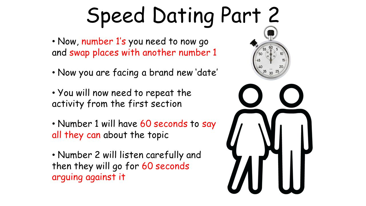 Speed Dating Part 2 Now, number 1's you need to now go and swap places with another number 1. Now you are facing a brand new 'date'