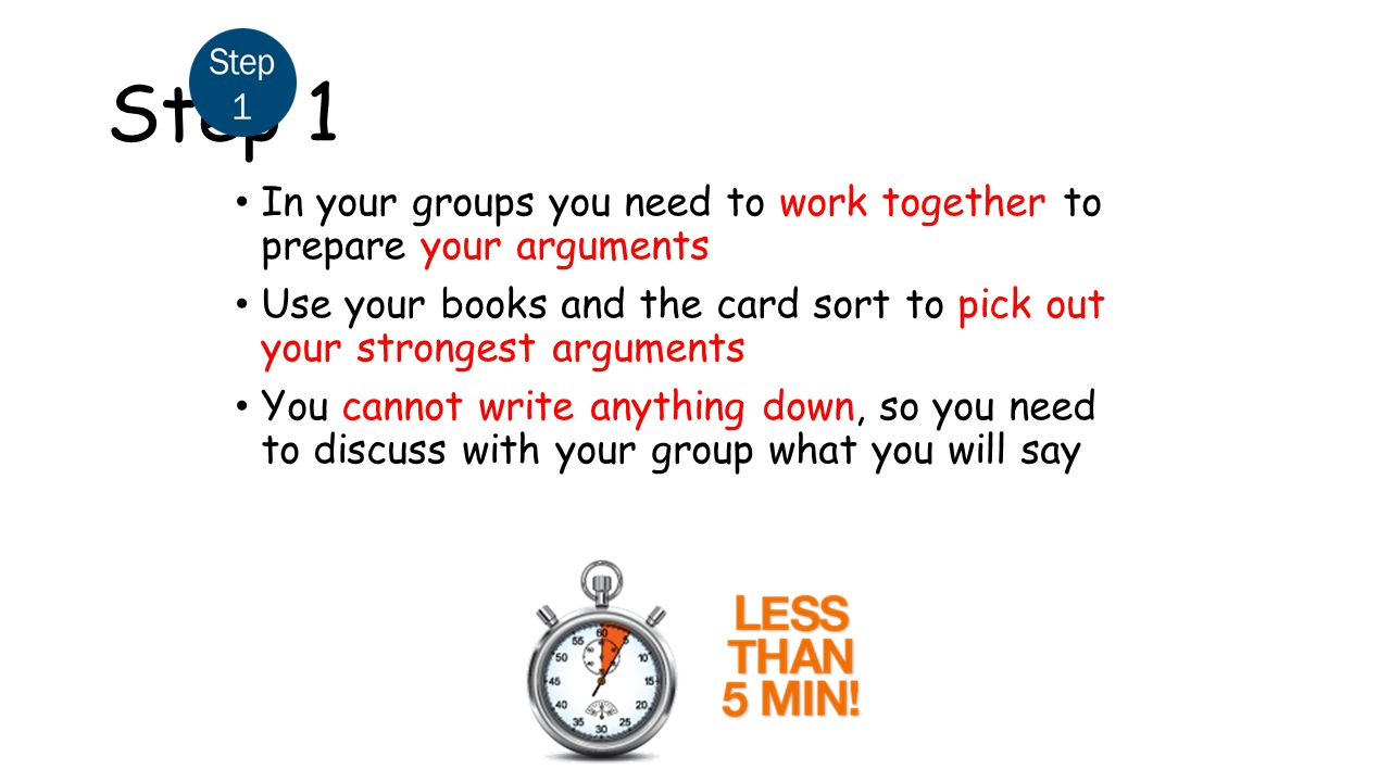 Step 1 In your groups you need to work together to prepare your arguments. Use your books and the card sort to pick out your strongest arguments.