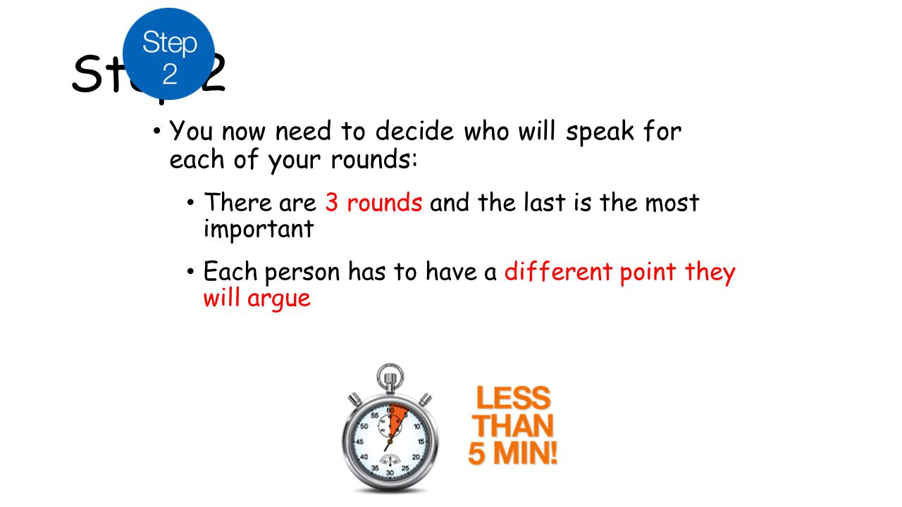 Step 2 You now need to decide who will speak for each of your rounds: