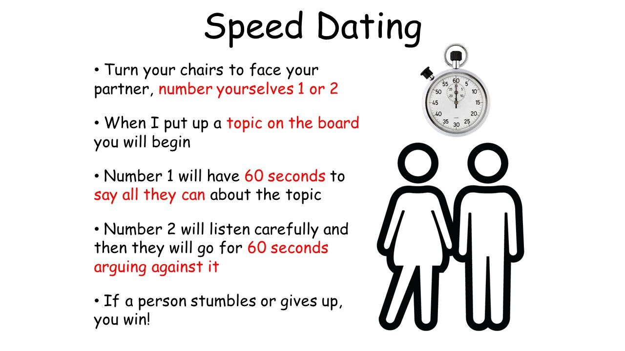 Speed Dating Turn your chairs to face your partner, number yourselves 1 or 2. When I put up a topic on the board you will begin.