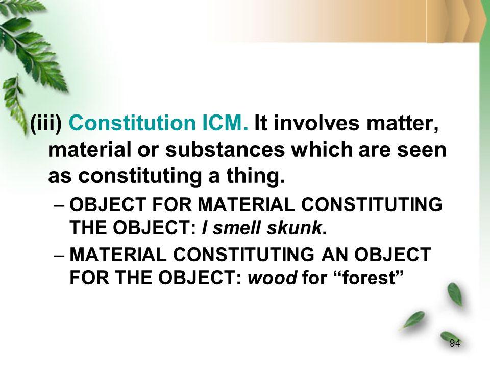 (iii) Constitution ICM